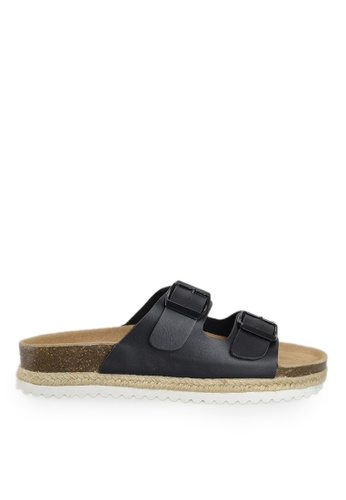 Footspot black FOOTSPOT – Double Buckles Cork Sandals CA000SH0977C78GS_1