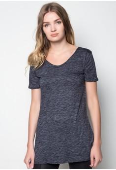 Short Sleeve w/ Side Slit Long Blouse