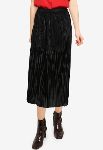 JACQUELINE DE YONG black Stone Plisse Skirt 39EB7AAFA767EAGS_1