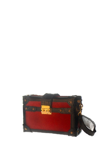 CSHEON red and gold BOX CLUTCH RED PONY FUR GENUINE LEATHER BAG WITH STRAP 30B61AC7C5F061GS_1