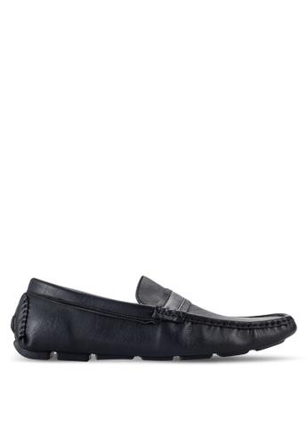 UniqTee black Moc Toe Penny Loafers UN097SH76RQTMY_1