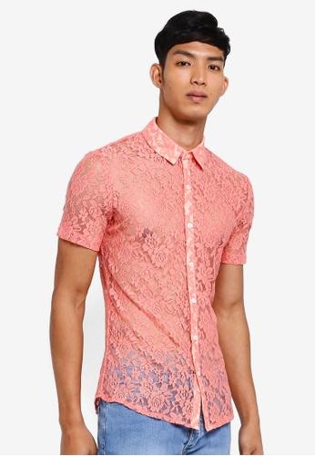 Topman pink Rose Lace Short Sleeve Shirt 8AFFBAA1EBEC76GS_1