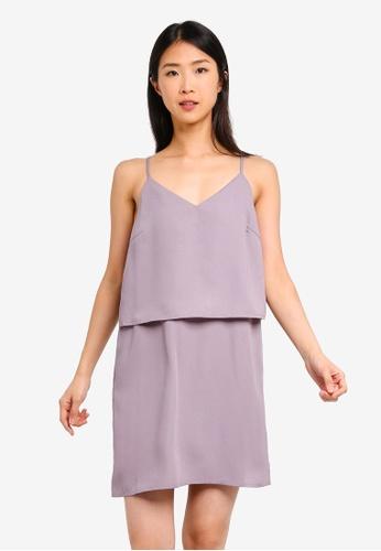 ZALORA BASICS grey Basic Double Cami Strappy Dress 77FB5AA35C307DGS_1