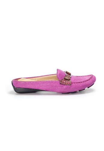 Shu Talk pink AMAZTEP Bi-colored Buckle Slip On Mule Loafers CA64BSHF6C88ABGS_1