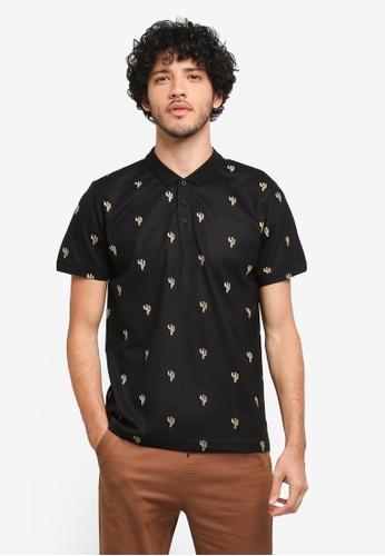 JAXON black Cactus Motif Polo Shirt 47370AA628E01DGS_1