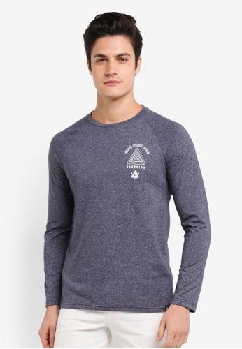 Burton Menswear London navy Navy Long Sleeve Raglan T-Shirt With Chest Print B5834AACE61E5CGS_1