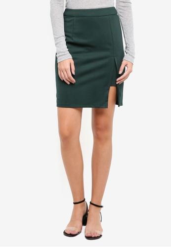 ZALORA green Pencil Skirt with Slit 48880AABCF75DEGS_1