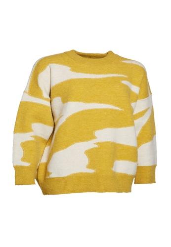 Universal Traveller yellow Universal Traveller Crew Neck Oversized Knitted Sweater - KSW 9169 90D6AAA00459C7GS_1