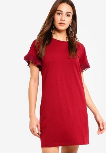 ZALORA red Ruffled Sleeves Shift Dress 13F4BAA1F8CE5FGS_1