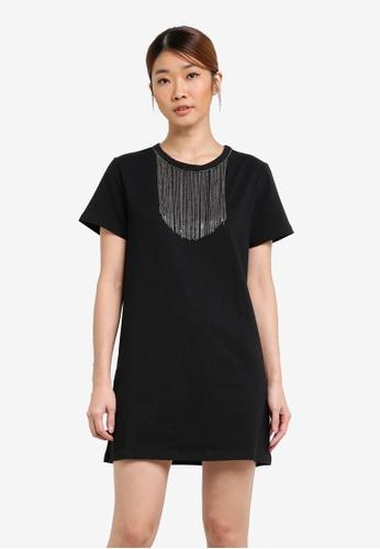 Something Borrowed black Neckline Embellishment Tee Dress 98554ZZ2FD8D91GS_1