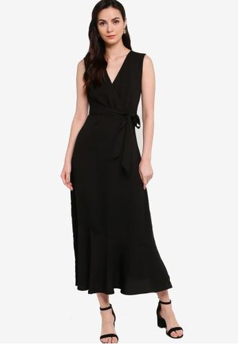 ZALORA WORK black Sleeveless Wrap Maxi Dress 0876CAACBA3A7AGS_1