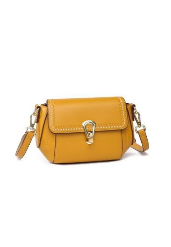 Lara yellow Women's Elegant Plain PU Leather Cross-body Bag - Yellow 3E7E6AC9197E7DGS_1