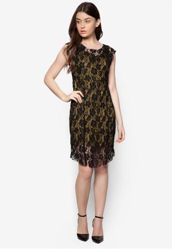 撞色蕾絲無袖esprit台灣連身裙, 服飾, 晚宴禮服