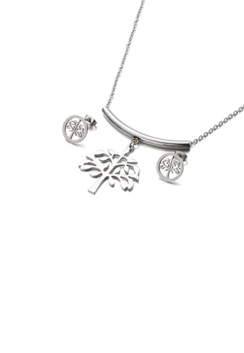 Glamorousky silver Fashion and Elegant Tree Of Life 316L Stainless Steel Necklace and Stud Earring Set 6345EACB0F479CGS_1