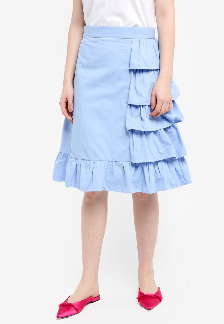 Skirt Blue Frill Midi Detail LOST INK Cotton an1qv1x8w