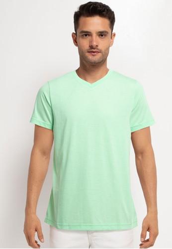Tolliver green V Neck Basic Short Sleeve Tee F1BB8AA34E12E7GS_1