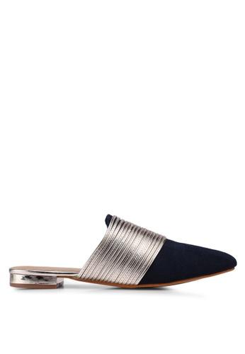 Something Borrowed 金色 and 海軍藍色 尖頭金屬感穆勒鞋 0A241SH037D95CGS_1