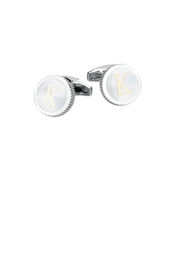 Glamorousky silver Fashion Simple English Alphabet K Round Cufflinks F0C79AC8C949DEGS_1