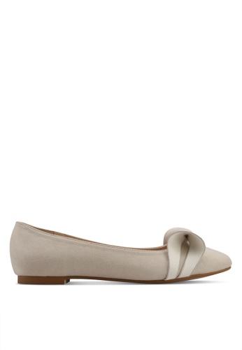 Velvet beige Bow Detail Ballerina 6A242SH9F2B91BGS_1