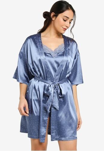 ZALORA BASICS 多色 Lounge Satin Kimono Gown DEA8CAA7469B42GS_1
