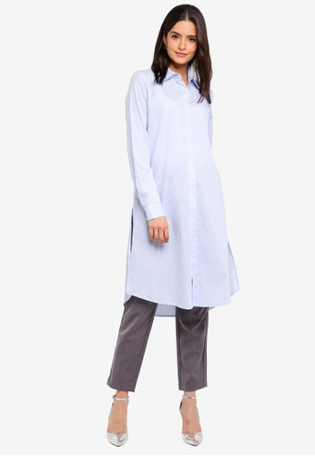 Zalia blue Longline Shirt 5BCBFAA2A86C10GS_1
