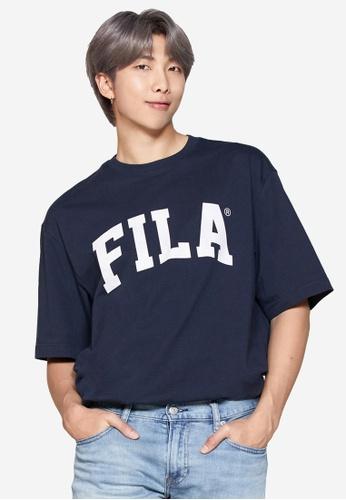 FILA navy FILA Logo Cotton T-shirt 2B4F8AAD81C75FGS_1