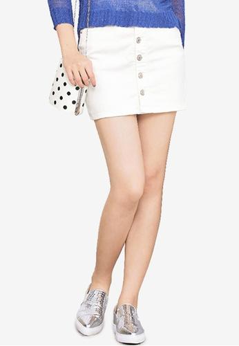 Kodz white Buttoned Denim Skirt FFE1EAABFA5CFCGS_1