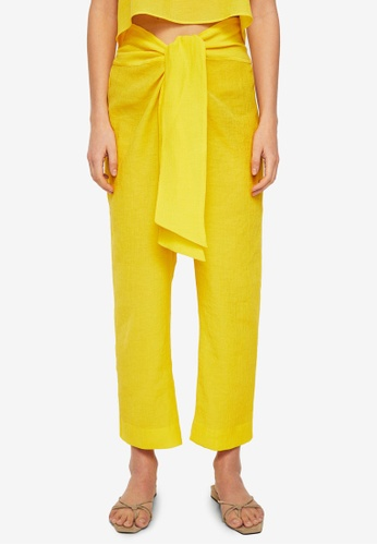 Mango yellow Commited Collection Bow Soft Fabric Trousers 182DBAACDB04C1GS_1