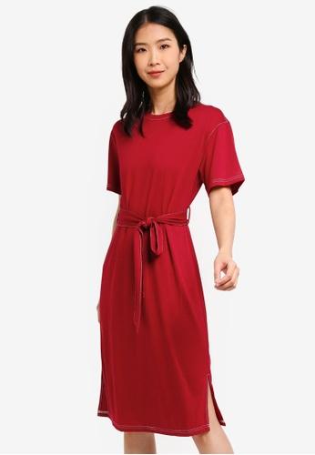 ZALORA BASICS red Basic Contrast Stitching T-Shirt Dress 8B1ADAAC66748EGS_1