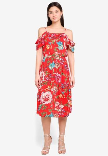Dorothy Perkins red Red Floral Print Midi Dress C11D9AA7FD2C3FGS_1
