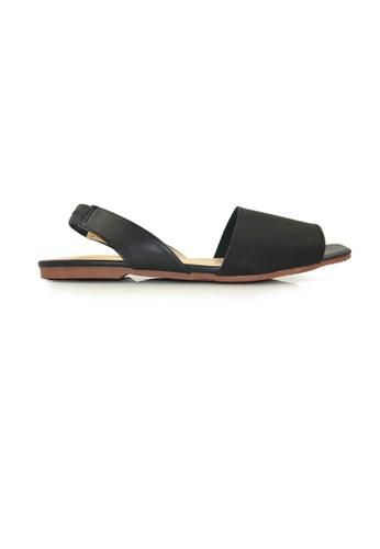 SHINE black and beige PU Leather Slingback Sandals SH554SH0FDK7SG_1