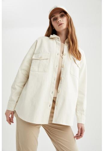 DeFacto beige Long Sleeve Cotton Shirt E8F5FAA3ED5D04GS_1