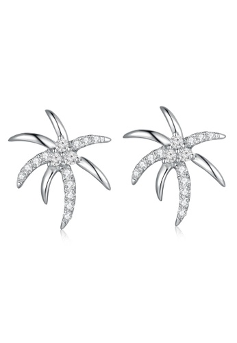 Mabelle Silver 18k 750 White Gold Diamond Starfish Earrings 4bd78accdd2987gs 1