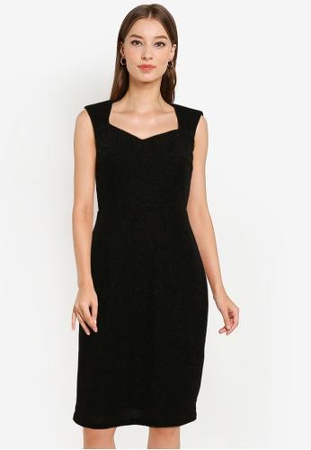 ZALORA OCCASION black Sweetheart Neckline Dress 2CF5FAAB9909D0GS_1