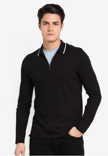 Burton Menswear London black Black Long Sleeve Zip Neck Polo Shirt BU964AA0T1I0MY_1