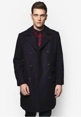 Johnson 長版雙排esprit 台北扣大衣, 服飾, 外套