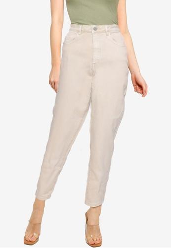 MISSGUIDED 米褐色 Mg X Assets Comfort Stretch Mom 牛仔褲 B8CD4AA2B7C315GS_1