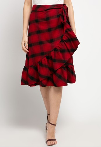 EDITION black and red Wrapped Flannel Skirt D17A3AAF097931GS_1