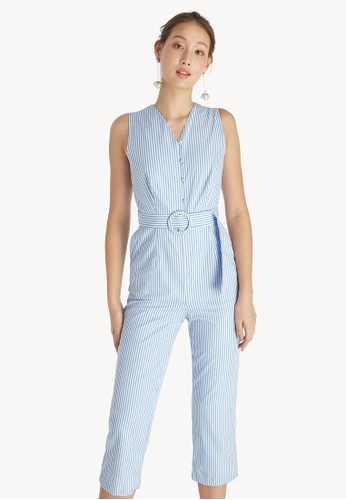 f06898544fa1 Shop Pomelo Striped V Neck Jumpsuit - Blue Online on ZALORA Philippines