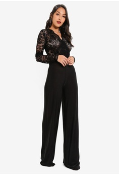 fa94946abc MISSGUIDED Lace Wide Leg Jumpsuit RM 149.00. Sizes 6 8 10 12