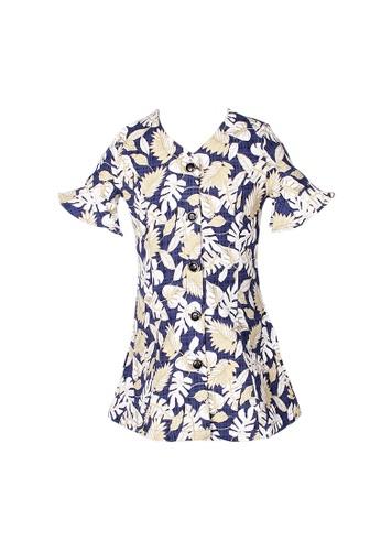 Mini Moley navy Floral Print Girl's Button Down Dress C7171KAEEB2BD3GS_1