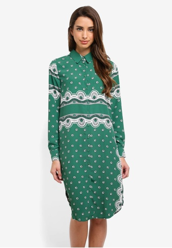 MISSGUIDED green Printed Longline Shirt Dress A15B8AAD3EFA16GS_1