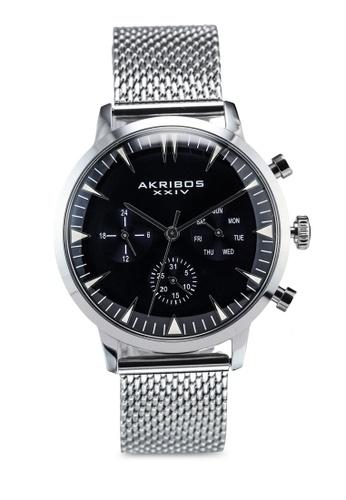 Akribos XXIV silver Day Date Mesh Watch 976EEACB30227FGS_1