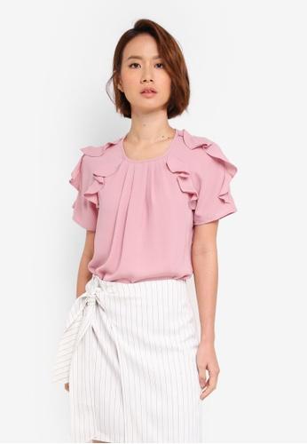 ZALORA pink Ruffle Layer Sleeve Top 038A5AA1C385F9GS_1