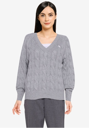 Abercrombie & Fitch grey Wedge Fit Icon Cable V-Neck Sweater 60156AAD2B3A1EGS_1