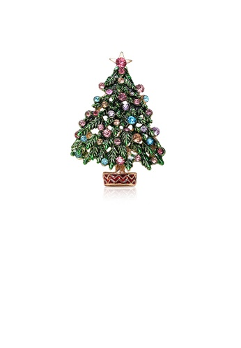 Glamorousky silver Fashion Personality Plated Gold Christmas Tree Brooch with Cubic Zirconia 24C06AC2E89A92GS_1