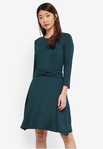 WAREHOUSE green Long Sleeve Twist Belt Dress E9A50AA2459D71GS_1