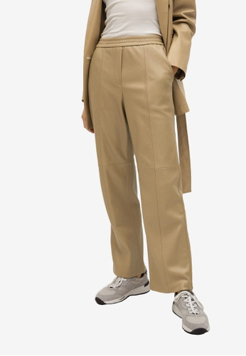 Mango brown Leather-Effect Straight Trousers 411F8AAFF39E23GS_1