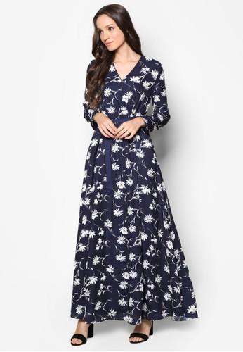 esprit 品牌印花長袖長洋裝, 服飾, 洋裝