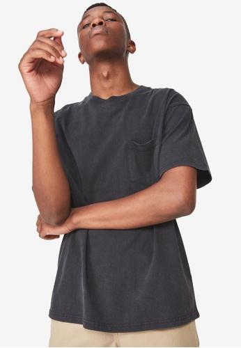 Cotton On 黑色 短袖口袋T恤 17E5CAAB3A73E1GS_1